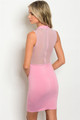 Sexy Sleeveless Fitted Bodycon Sheer Mock Pink Dress (42-20)
