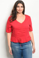 Plus Size Short Sleeve Ruffle Peplum Red Top (42-23)