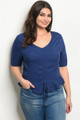 Plus Size Short Sleeve Ruffle Peplum Navy Top (42-24)