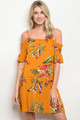 Bright & Beautiful Tropical Floral Mustard Short Sleeve Off Shoulder  Mini Dress (42-25)