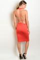 Sexy Open Back Mock Neck Bodycon Burnt Orange Dress (26-37)