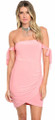 Sexy Bodycon Off Shoulder Pink Dress (26-42)