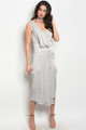 Silky Elegant Sexy V Neck Light Gray Dress (26-44)