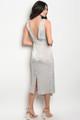 Silky Elegant V Neck Silver Dress (26-44)