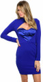 Sexy Bodycon Bustier Mock Neck Royal Blue Dress (26-45)