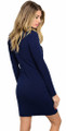 Sexy Bodycon Bustier Mock Neck Navy Blue Dress (26-46)