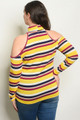 COLD SHOULDER YELLOW/MAGENTA STRIPE TOP (44-22)