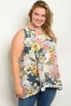 CAMOUFLAGE FLORAL PLUS SIZE SLEEVELESS TUNIC TOP (44-23)