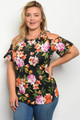 BLACK FLORAL SHORT SLEEVE PLUS SIZE TUNIC TOP (44-25)