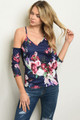 COLD SHOULDER SPAGHETTI NAVY FLORAL TOP (45-6)