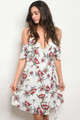 COLD SHOULDER IVORY W/FLOWERS PRINT DRESS (45-12)
