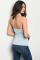 SLEEVELESS HALTER BLUE TOP W/LACE UP FRONT (45-41)