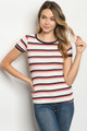 SHORT SLEEVE RIBBED IVORY, CORAL & BLACK STRIPES TOP (46-13)