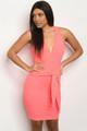 SEXY NEON SALMON-PINK BODYCON V-NECK DRESS (46-21)