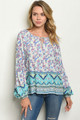 LONG SLEEVE MULTI COLOR AZTEC & FLORAL TUNIC TOP (46-26)