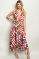 SLEEVELESS RED WHITE & BLUE FLORAL PRINT MAXI DRESS (46-44)