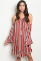 BELL SLEEVE OFF THE SHOULDER MULTI RED EARTH TONE TUNIC DRESS (46-45)