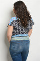 PLUS SIZE SHORT SLEEVE MULT BLUE RUFFLED LAYER TOP (46-50)