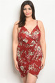 SLEEVLESS SEXY BURGUNDY FLORAL PLUS SIZE BODYCON DRESS (46-54)