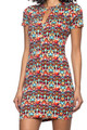 SHORT SLEEVE BODYCON RED MULTI COLOR PRINT DRESS (48-2)