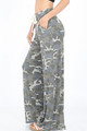Dusty Grey Camouflaged Comfy Palazzo Pants w/Drawstring