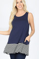 SLEEVELESS ROUND NECK TOP w/SIDE POCKETS STRIPED & SOLID Navy