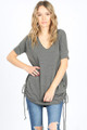 SHORT SLEEVE V-NECK LOOSE FITTING CHARCOAL TOP RUCHED DRAWSTRING