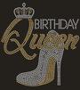 """Birthday Queen"" w/High Heel Rhinestone Graphic Tee-Black"
