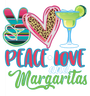 """Peace Love Margaritas"" Colorful Fun Graphic Tee-Coral"