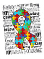 """""""Fighter, Warrior, Courage Autism"""" Autism Awareness Puzzle Ribbon Sublimation Transfer Graphic Tee-Heather Grey"""