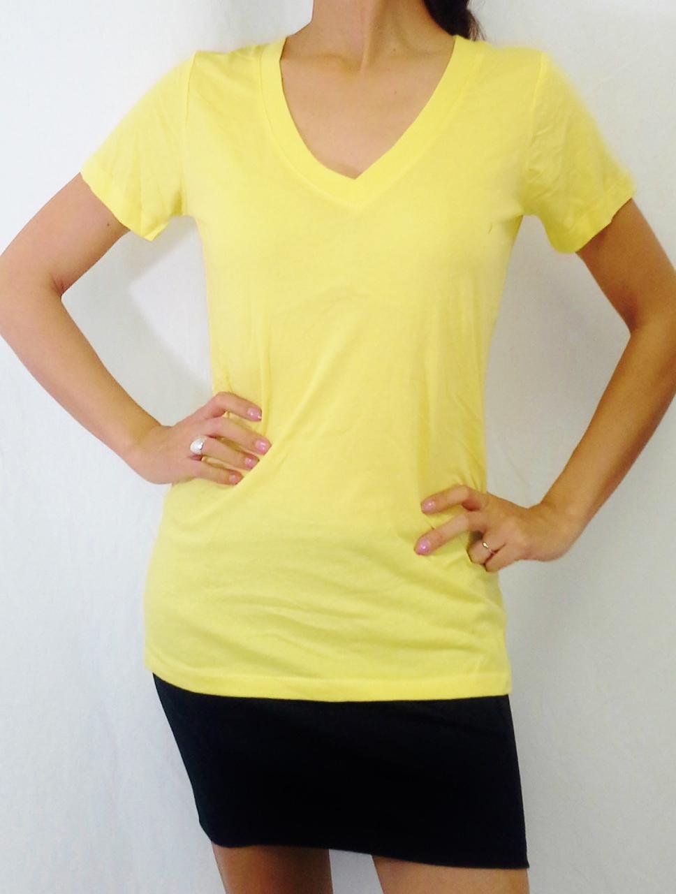 100% Cotton Long, V-Neck Tee. Major Name Brand! Yellow.  (E-148)