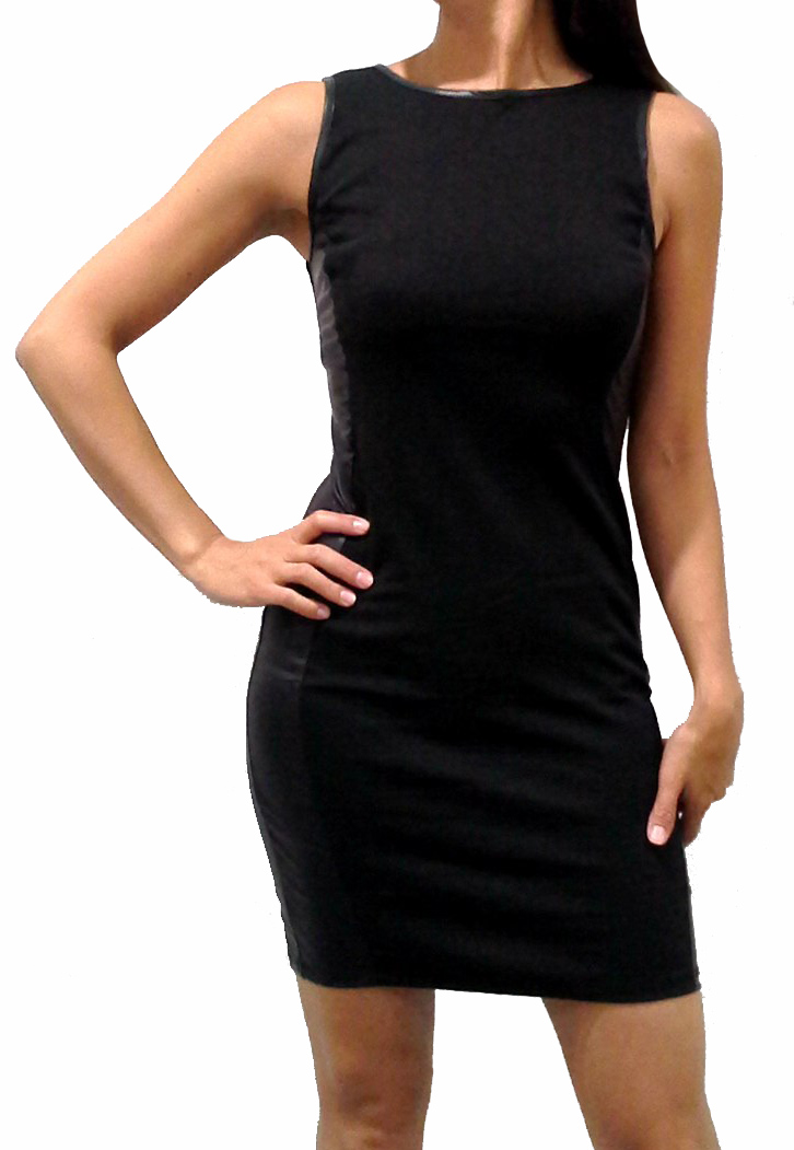 Bodycon Dresses with Faux Leather Side Panels! Black.  (B-57)