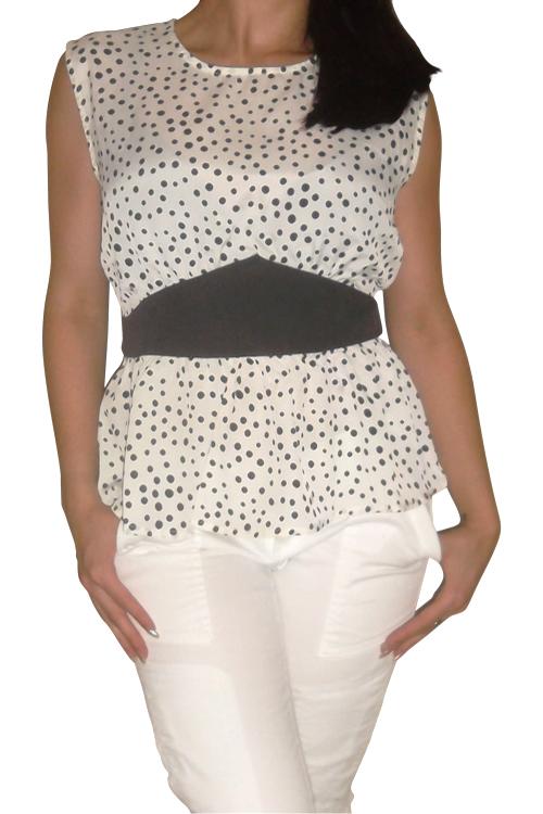 7d251cbe1a289 Sleeveless Peplum Top with Black   White Polka Dots. (B-144 ...