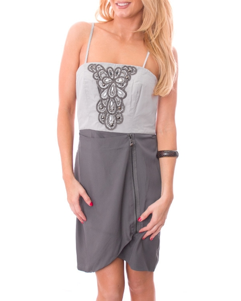 Strapless Tube Dress with Built-In Jewelry! Grey.  (B-151)