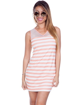 Striped Dress with Sheer Mesh Upper and Open Back! Apricot.  (A-184)