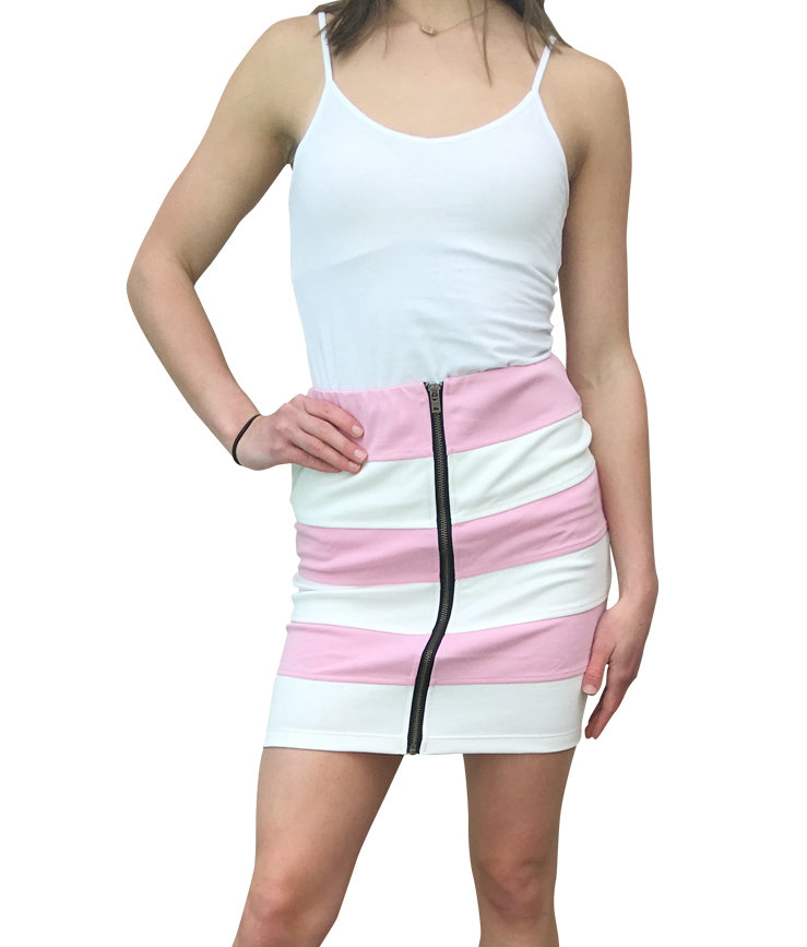 Pink / White Striped Pencil Skirt with Zipper!  (E-91)