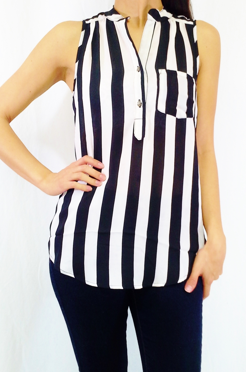 8aab6db4978f30 Button Down Sleeveless Top with Black   White Vertical Stripes and Button  Back!