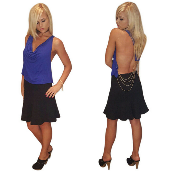 Blue Sleeveless Clubwear Top! Blue with Chain Back.  (B-58)