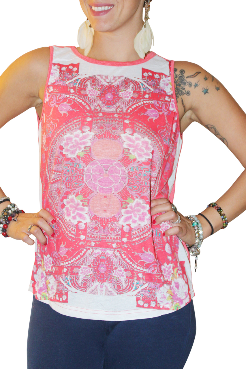 Retro Paisley Muscle Tee With Open Back! Red.  (C-56)