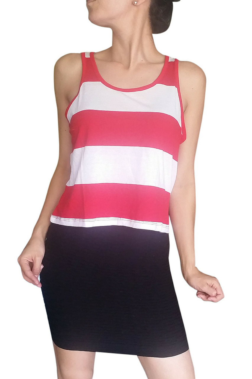 Cotton Tank Top from AMBIANCE APPAREL! 90% Cotton & 10% Spandex. Red & White Stripes.  (E-141)
