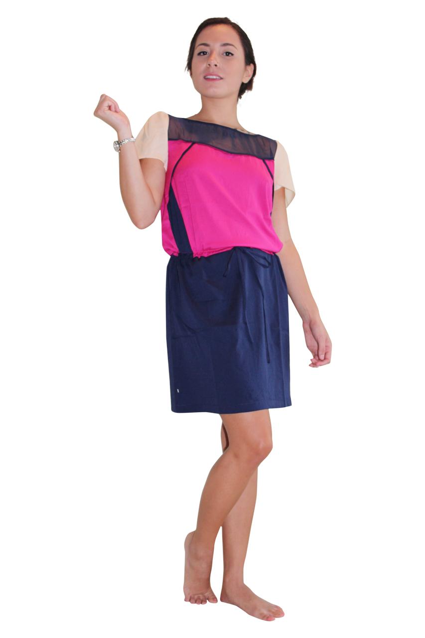 7ef73406231b8 ColorBlock Dress With Sheer Upper. Navy/Fuchsia. (D-17 ...