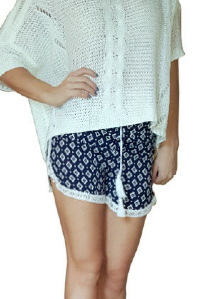 100% Rayon Challis Shorts with Lace Trim! Navy Blue Aztec Pattern. From MAZE! (E-6)