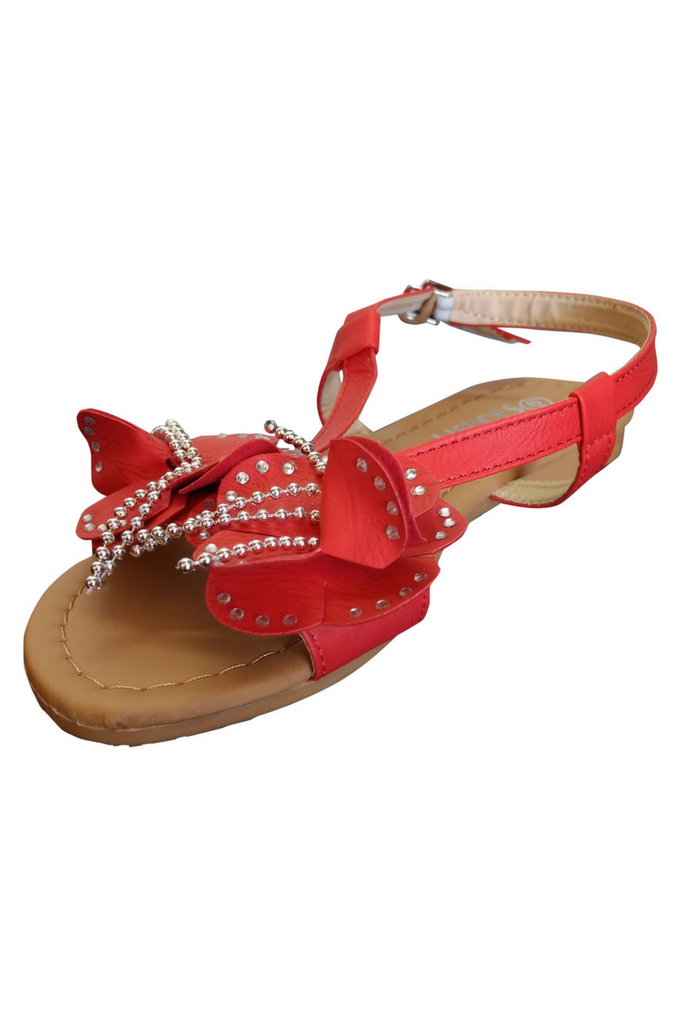 Red Flower Sandals!  (L-17)