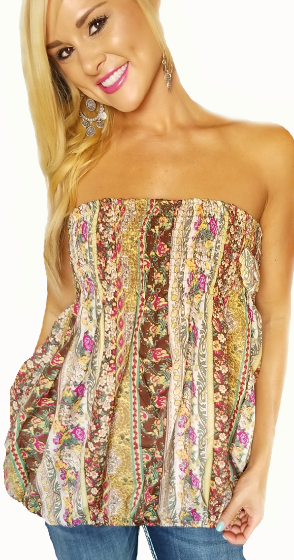 Strapless Top in Boho Green & Yellow Paisley. (A-83)