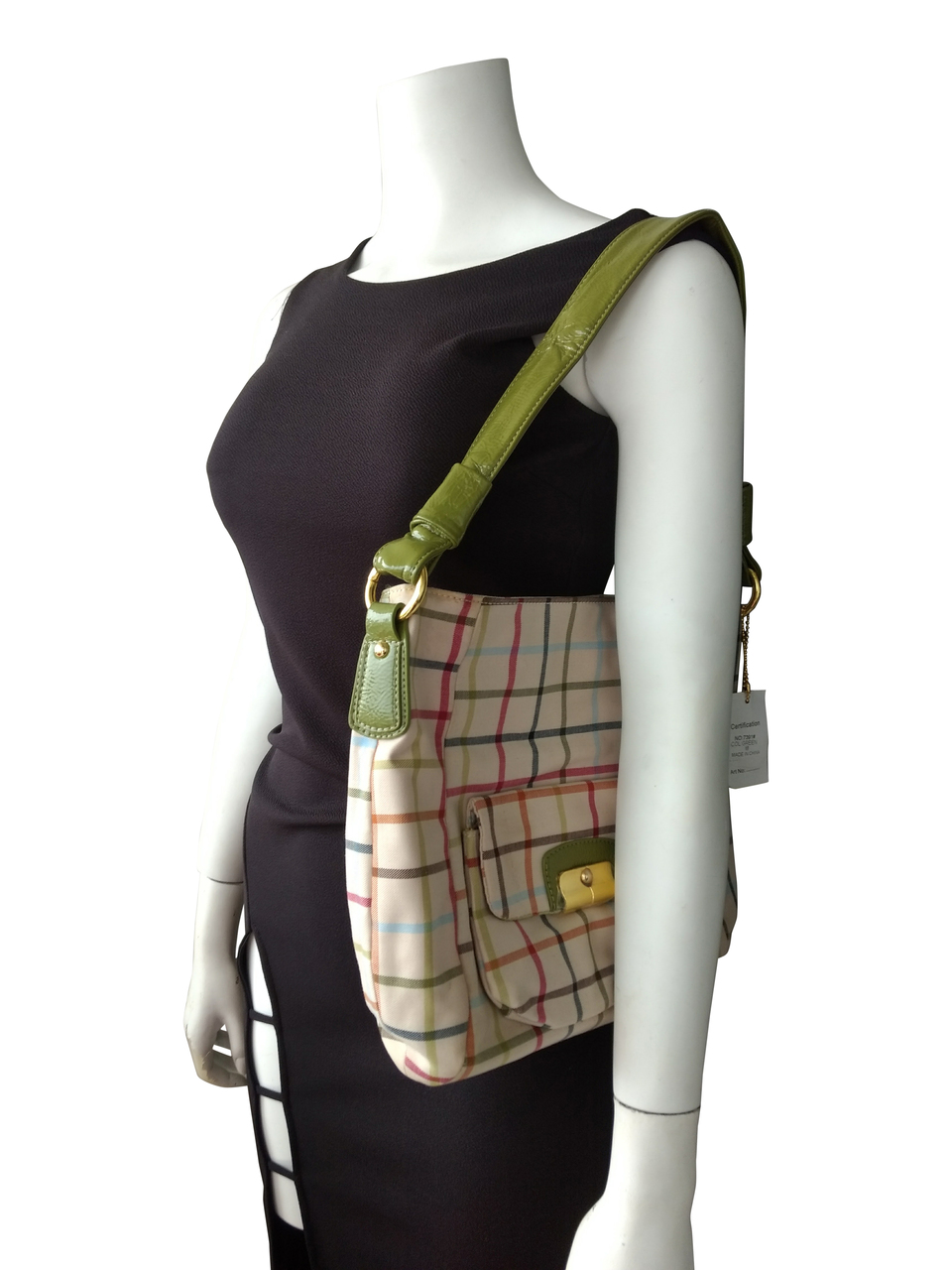 Large, High Quality Plaid Purse! Beige with Green