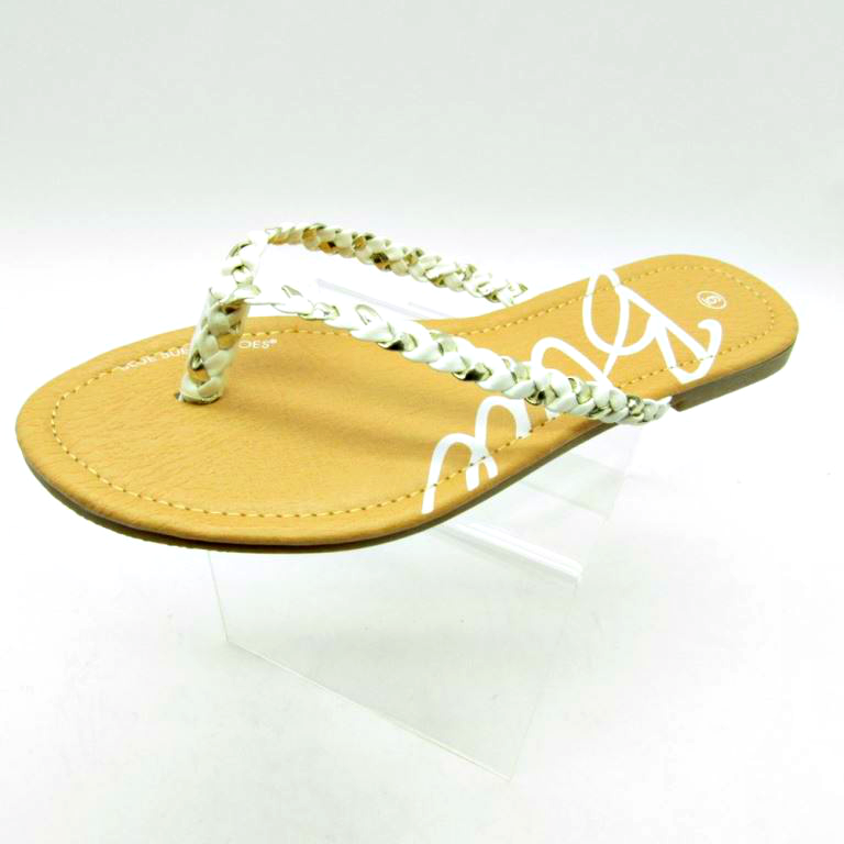 Sandal with White and Silver Braided Strap!  (L-23)