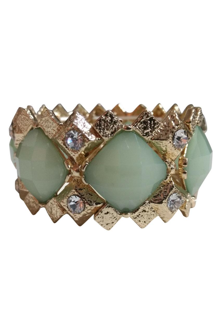 BRACELETS. Dimensional Geo Stretch Bracelet. Color: Gold, Mint. (G-40)