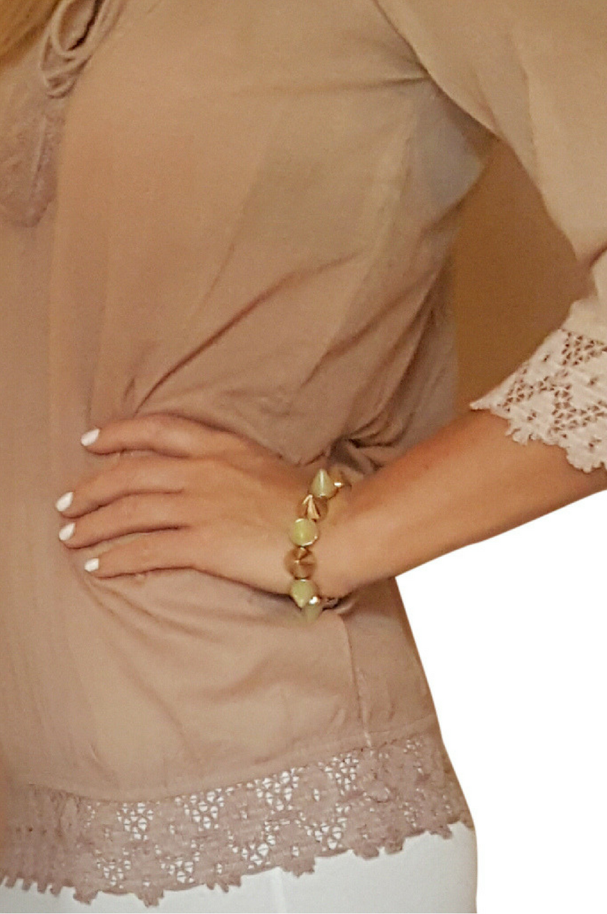 Stretch Bracelet from GIRLY! Gold and Mint Spikes.  (G-3)