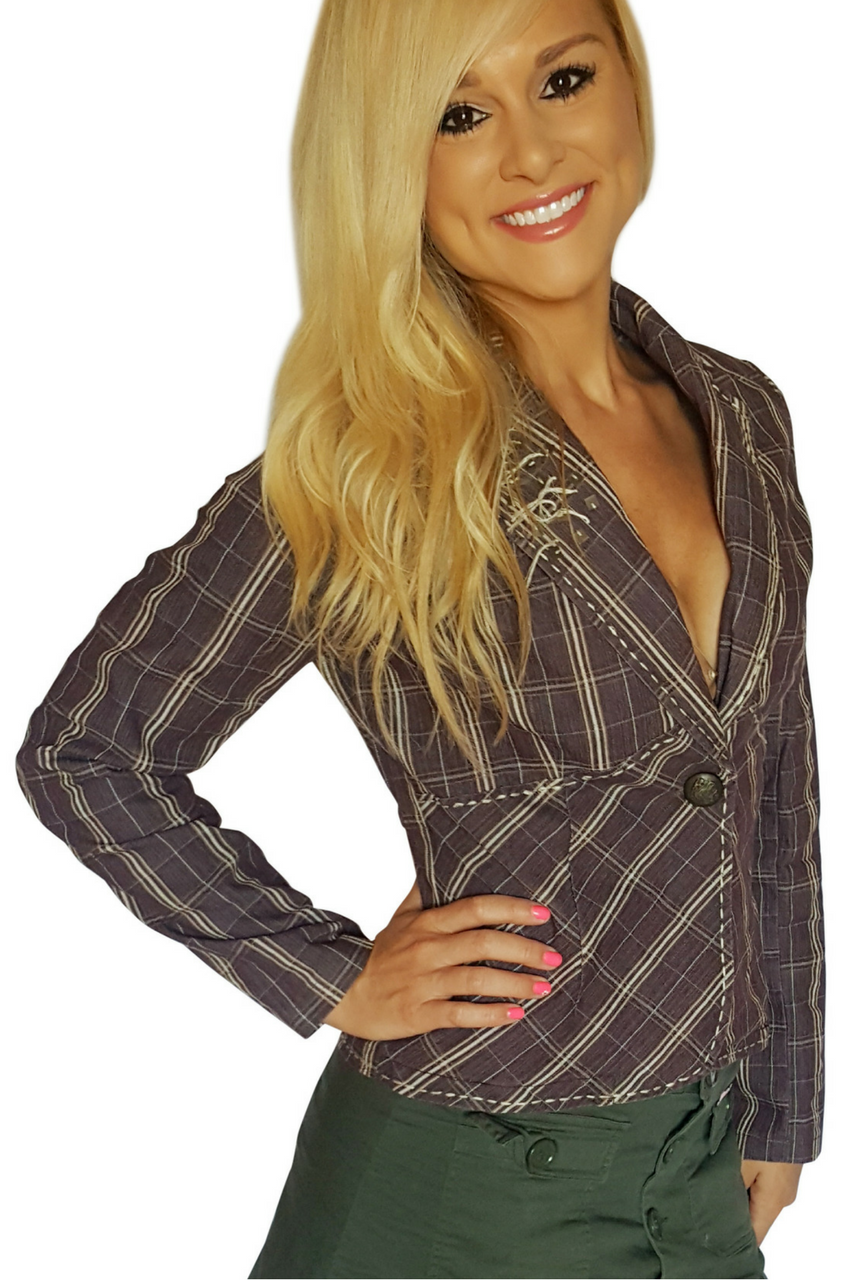Boutique Denim Blazer with Embroidery! 97% Cotton. Violet & Tan Plaid. (D-103)