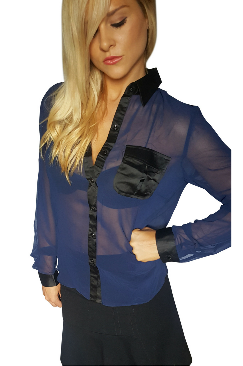 Navy Blue Sheer Buttondown Top with Black Collar. (A-179)